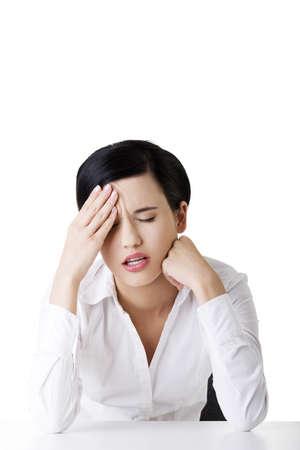 Businesswoman with big problem , headache or depression Stock Photo - 16772832