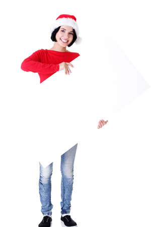 Santa girl holding blank board, isolated on white Stock Photo - 16770552