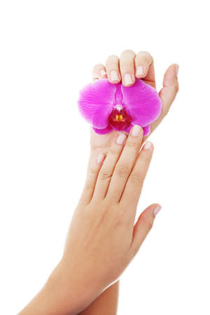 Hands care concept. Close up shoot of beautiful female hands holding orchid flower photo