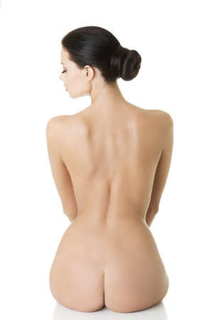 naked woman back: Young beauty nude women back, isolated on white  Stock Photo