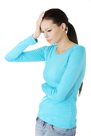 Young sad woman have big problem ,depression or headache , over white background Stock Photo - 17507162