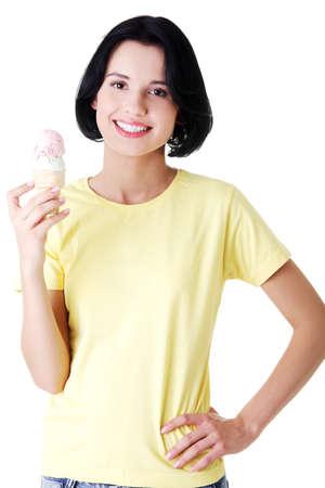 Women eating ice cream, isolated on white  photo