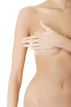 Topless woman body covering her breast with hand. Breast cancer concept  Stock Photo - 17561595