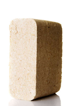 briquettes: Wood sawdust briquettes , isolated on white