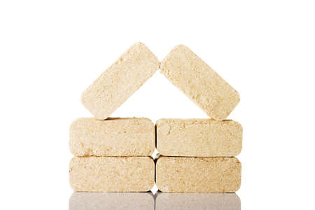 exalt: Wood sawdust briquettes , isolated on white