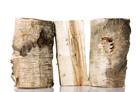 wood cut: Cut log fire wood from birch-tree. Isolated on white. Stock Photo
