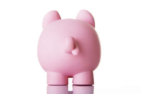 Piggy bank back. Isolated on white. Stock Photo - 18141059