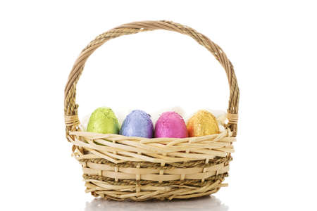 cepelia: Wicker easter basket isolated on white