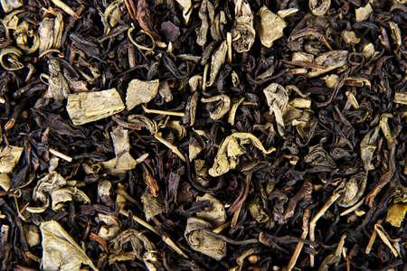 theine: Black tea leaves texture