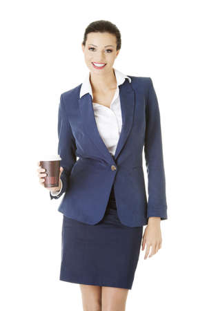 Business woman with cartoon mug - coffee time photo