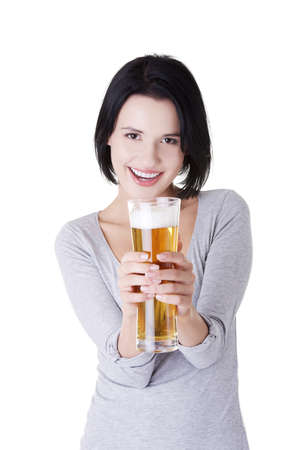 Beautiful happy woman with beer, isolated on white photo