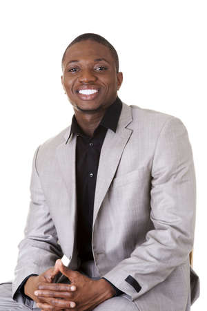 black male: Happy smart black businessman smiling, isolated on white.