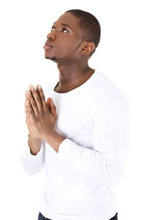 Man Praying, isolated on white photo