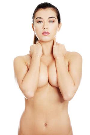 junge nackte mädchen: Schöne Passform Frau topless, isoliert auf weiß
