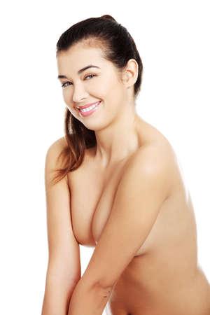 girl naked: Hermosa mujer en topless en forma, aislados en blanco