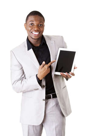 Businessman showing tablet computer photo