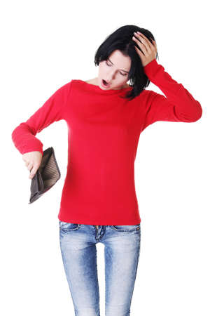 empty wallet: Young woman shows her empty wallet. Bankruptcy  concept