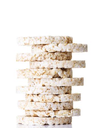 galettes: Rice cake pile, isolated on white Stock Photo