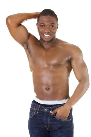 african american nude: Muscular black man, against white background Stock Photo