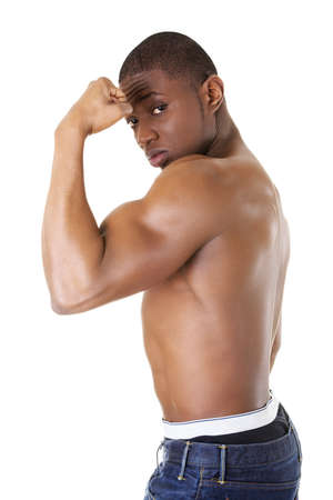 afro american nude: Muscular black man, against white background Stock Photo