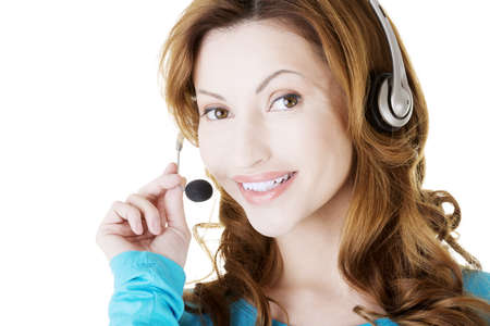 Attractive adult woman with headphones, isolated on white Stock Photo - 20108123
