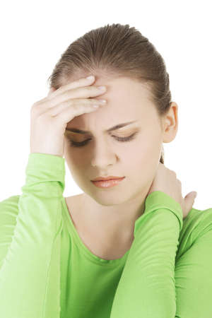 Young sad woman have big problem ,depression or headache , over white background Stock Photo - 20108210