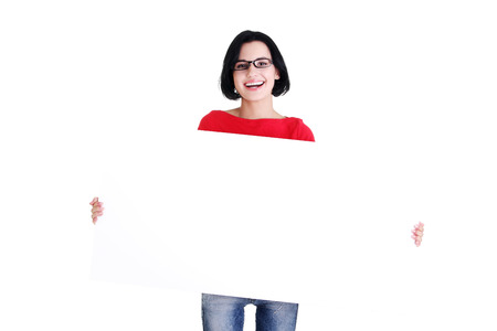 Portrait young happy woman with blank board , isolated on white Stock Photo - 27969805