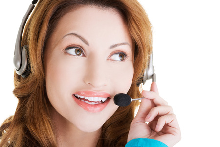Friendly call center assistant smiling photo