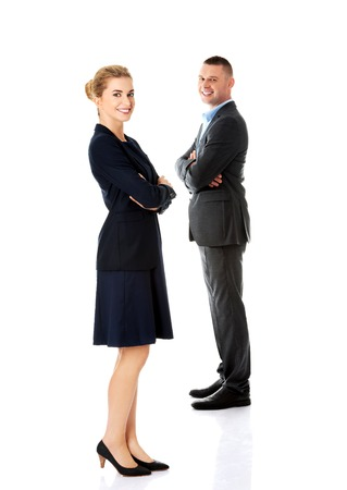 Successful business couple is standing