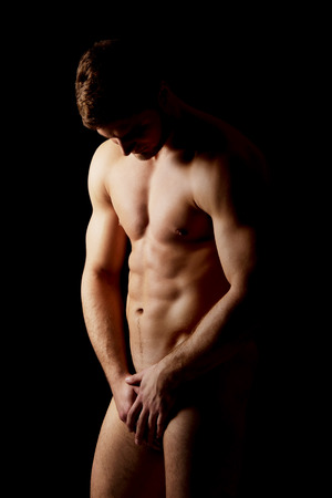 Sexy naked muscular macho man.