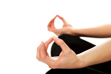 Female hands in ohm yoga pose Stock Photo - 38815853