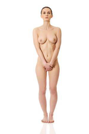 Beautiful caucasian woman with naked breast. Stock Photo