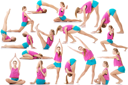 Young caucasian woman is doing exercises, wearing sportswear.