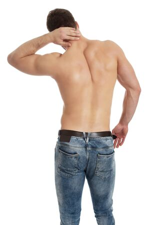 Handsome athletic man suffering from neck pain. Stock Photo