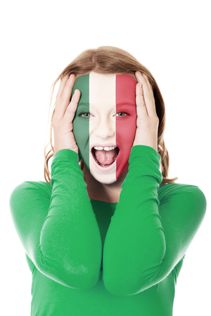 Woman with Mexico flag on face. Standard-Bild - 122945867