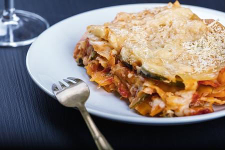 Vegetarian lasagne on the plate.