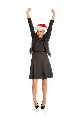 Businesswoman in christmas hat