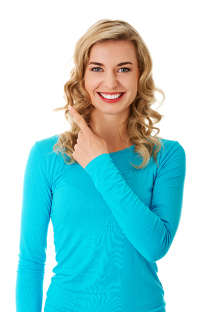 Woman gesturing with finger Stock Photo