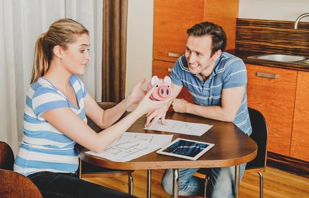 Family finance concept - piggybank