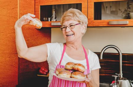 Grandma with doughnuts