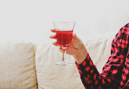 Relax with glass of wine
