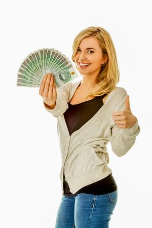 Woman with cash fan