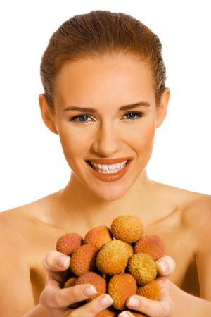 Woman with lychee fruits Standard-Bild - 127495968