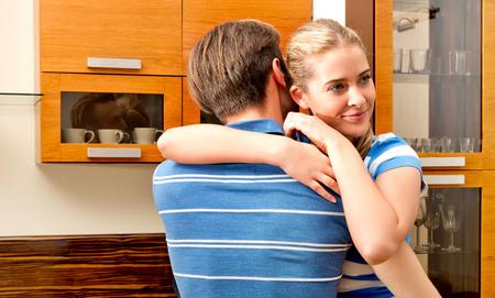 Embrancing couple tenderness Standard-Bild - 127895561