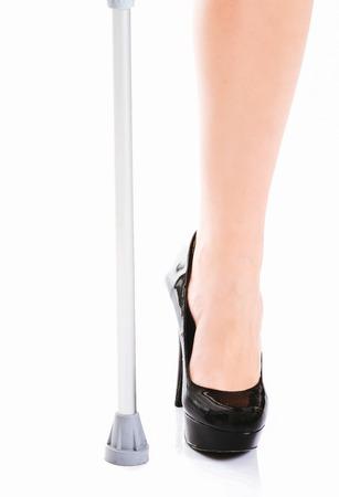 Injured persons leg on white Standard-Bild - 127895586