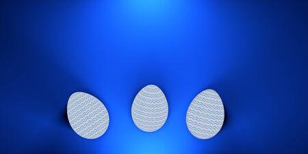 3 easter painted eggs on blue background. 3d render Reklamní fotografie