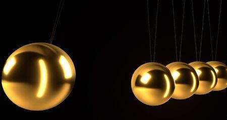 Gold Newton's cradle in action. 3d render 版權商用圖片