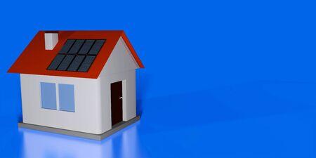 Real estate agent header or flyer mock up. Smal house model with solar panels on roof against blue background. 3d render illustration. Reklamní fotografie