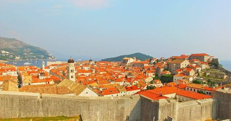 Panoramic aerial view of old city of Dubrovnik