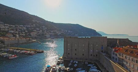 Panorama of old city port in Dubrovnik
